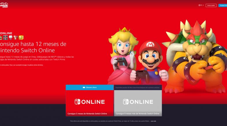 Twitch Prime permite obtener 12 meses gratis de Nintendo Switch Online
