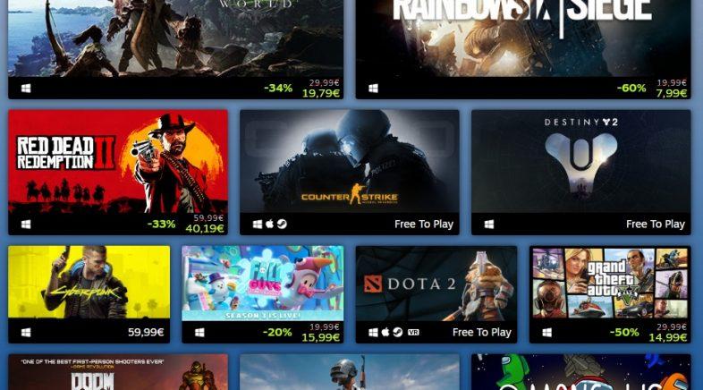 Steam publica a lista dos xogos máis vendidos e xogados de 2020